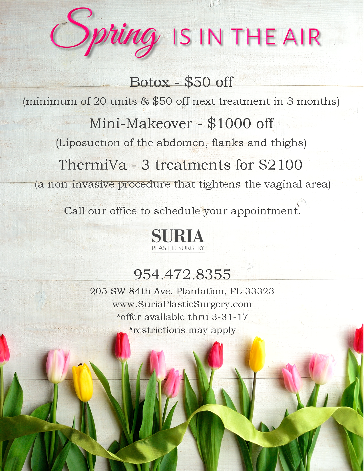 March Specials | Suria Plastic Surgery