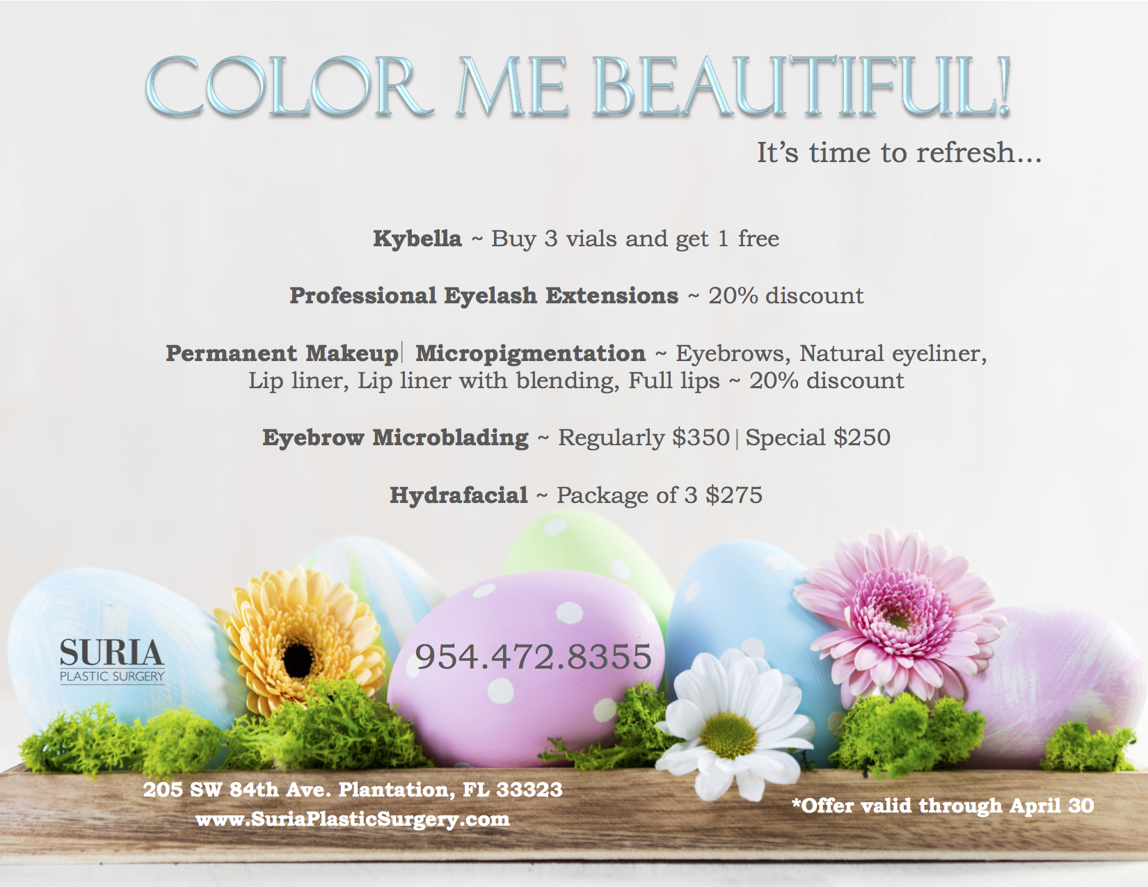 April Specials | Suria Plastic Surgery Plantation FL